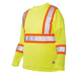 Work King Long Sleeve Hi-Vis T-Shirt With Armband Stripes Yellow/Green 3X Large