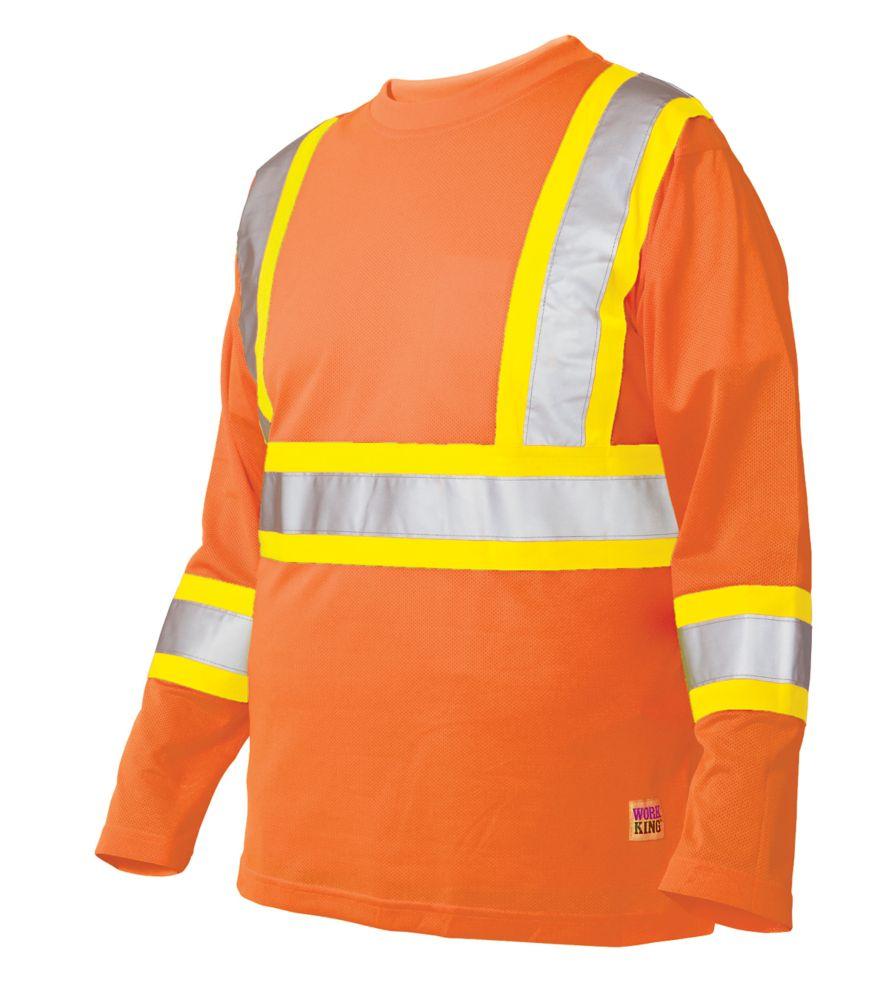 Work King Long Sleeve Hi-Vis T-Shirt With Armband Stripes Fluorescent Orange Medium
