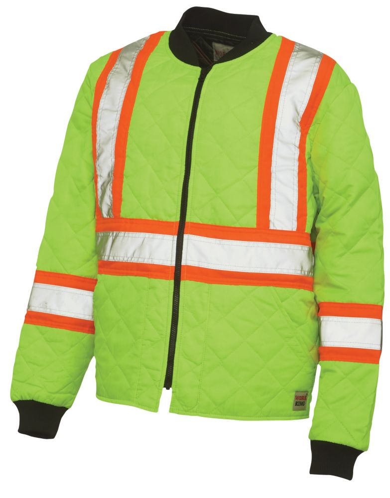 Quilted Safety Jacket With Stripes Yellow/Green 2X Large