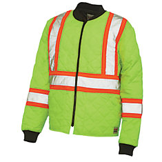 Quilted Safety Jacket With Stripes Yellow/Green 3X Large