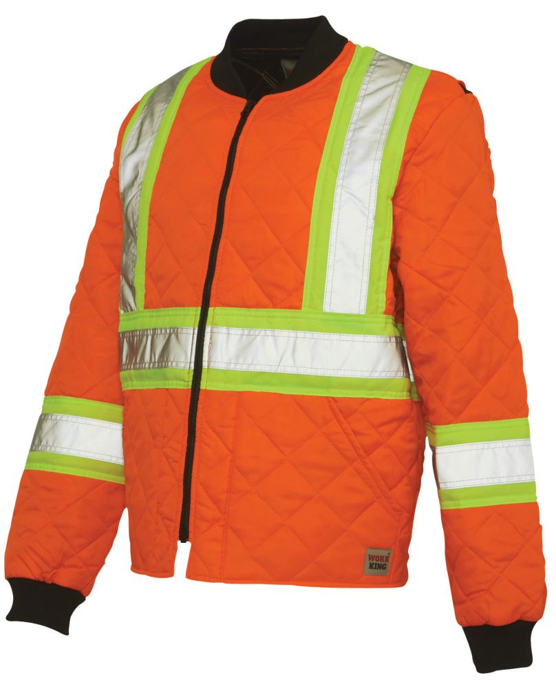 Quilted Safety Jacket With Stripes Fluorescent Orange Small