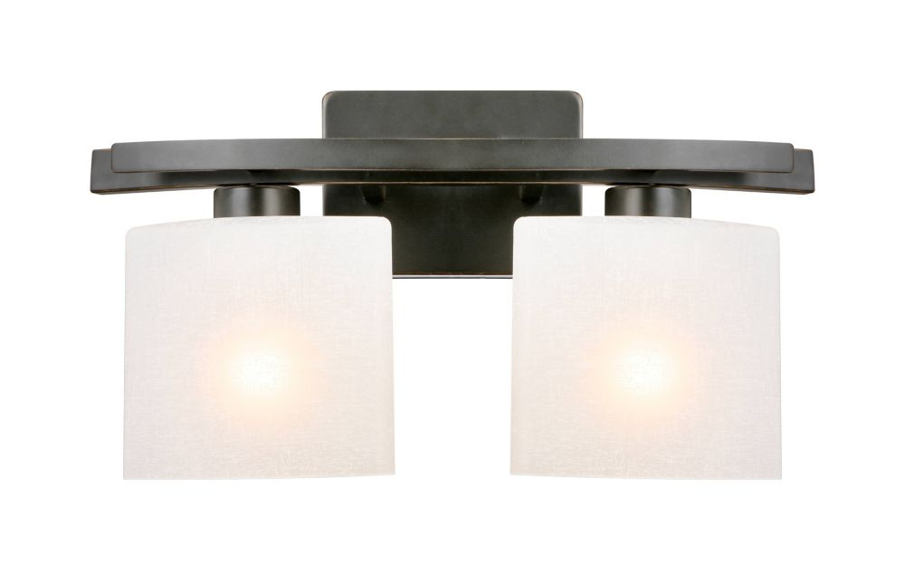 Hampton Bay Ettrick 2-Light Oil-Rubbed Bronze Vanity Light with Linen Glass Shades