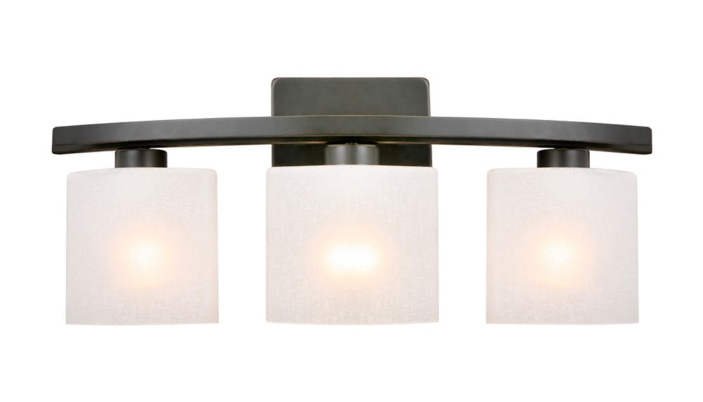 Vanity lighting the home depot canada ettrick 3 light bathroom vanity light fixture in oil rubbed bronze with linen glass aloadofball Gallery