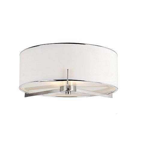 Bel Air Lighting Ashley 2-Light 15-inch Round 60W Brushed Nickel Flushmount Light Fixture with Linen Shade