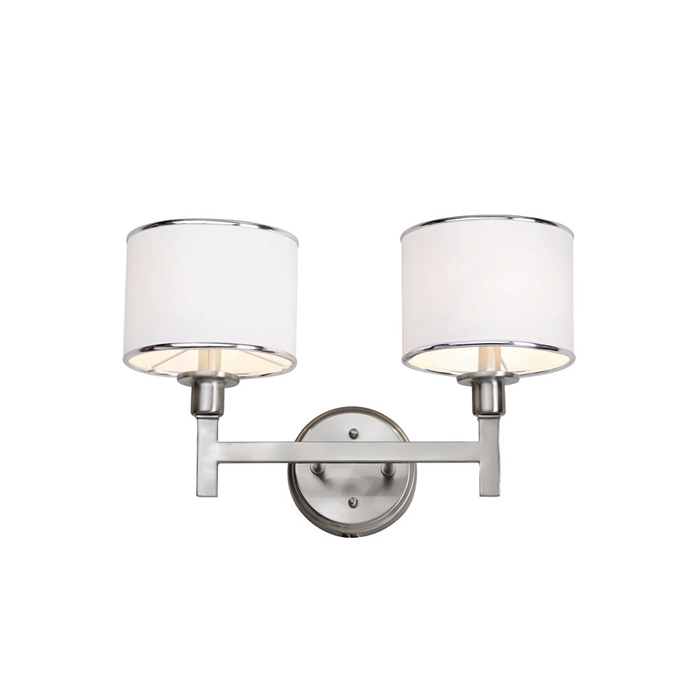 Nickel and Linen 2 Light Sconce