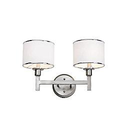 Bel Air Lighting Nickel and Linen 2 Light Sconce