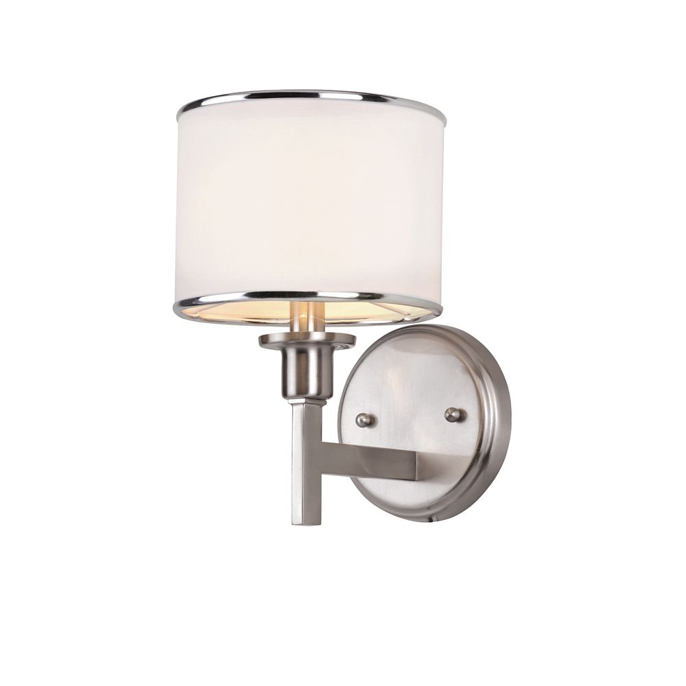 Nickel and Linen Wall Sconce