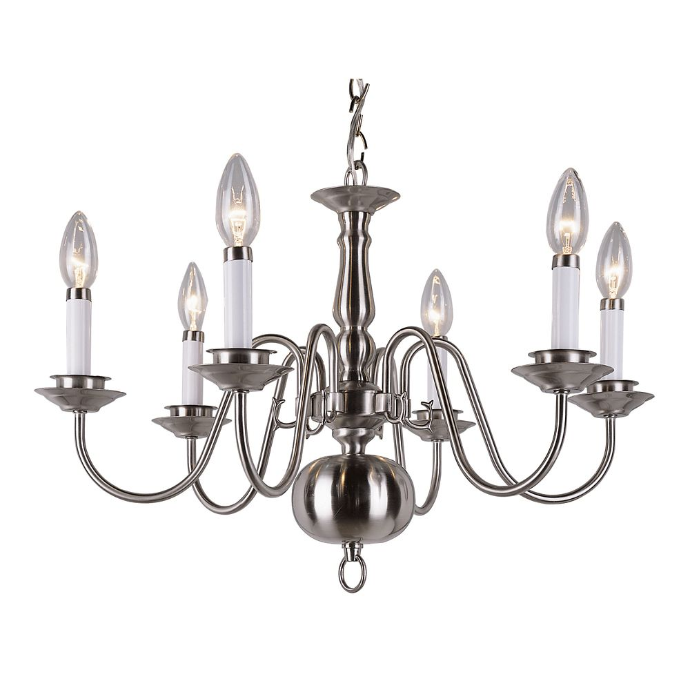 Brushed Nickel Goose Neck 6 Light Candelabra