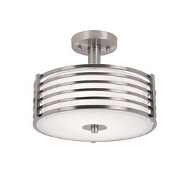 Bel Air Lighting 12-inch Nickel Wrapped Ceiling Fixture