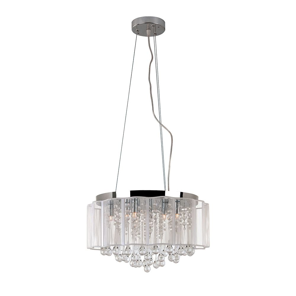 Bel Air Lighting Crystal Drops and Acrylic Wire Hanging Pendant