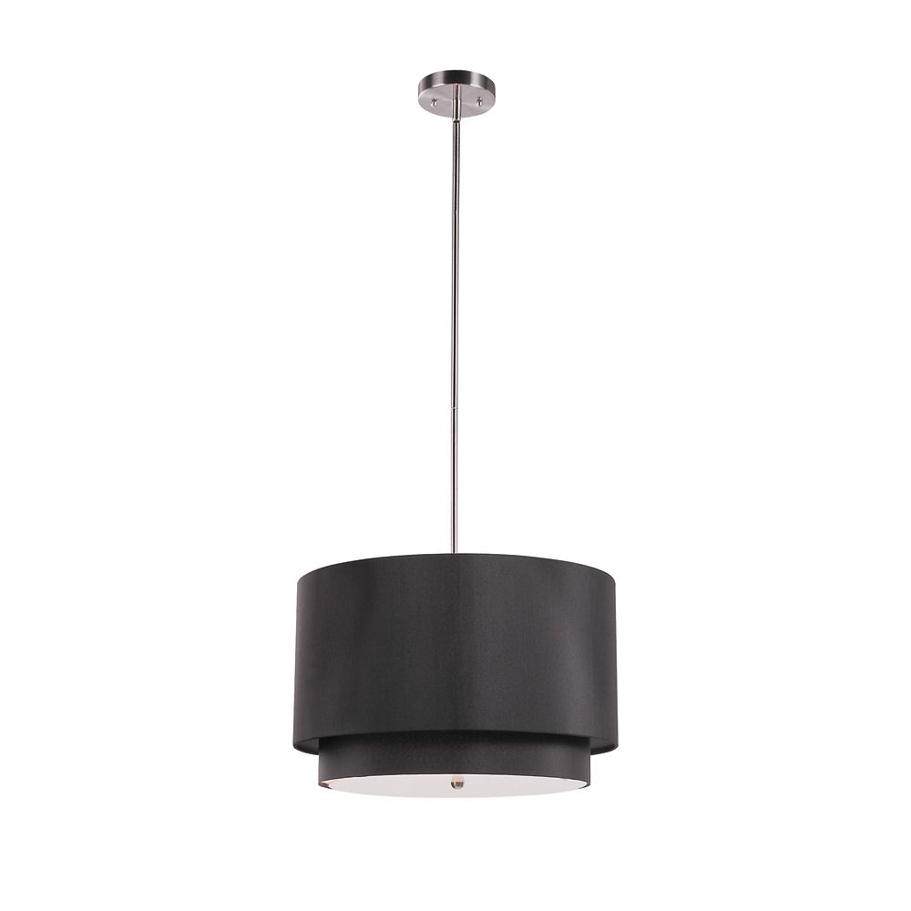 Bel Air Lighting Layered 18 inch Drop Pendant in Black