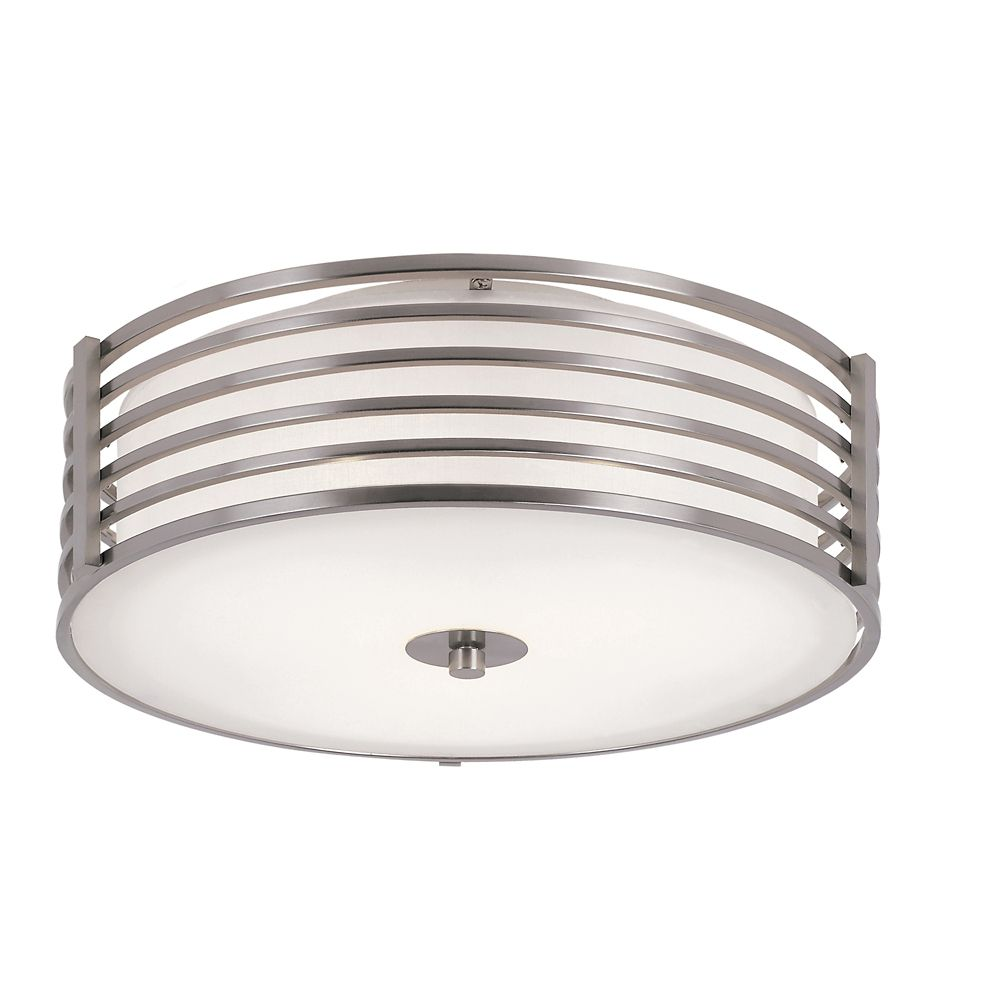 16-inch Nickel-Wrapped Flush Mount Indoor Ceiling Light