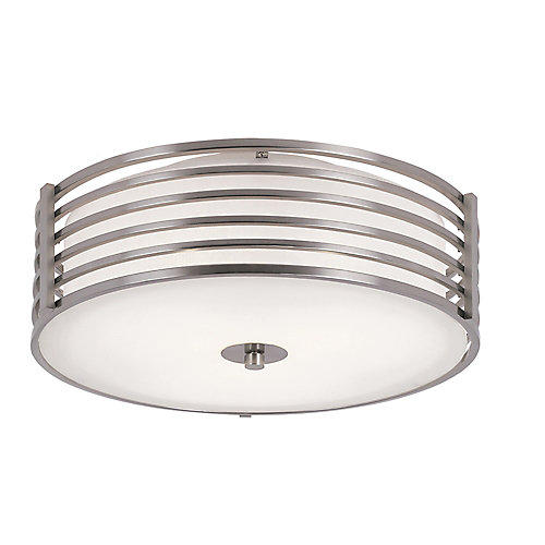 Hampton bay 16 inch nickel wrapped flush mount indoor ceiling 16 inch nickel wrapped flush mount indoor ceiling light mozeypictures Gallery