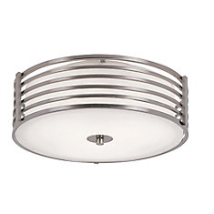 16-inch Nickel-Wrapped Flushmount Indoor Ceiling Light