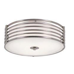 Bel Air Lighting 16-inch Nickel-Wrapped Flushmount Indoor Ceiling Light