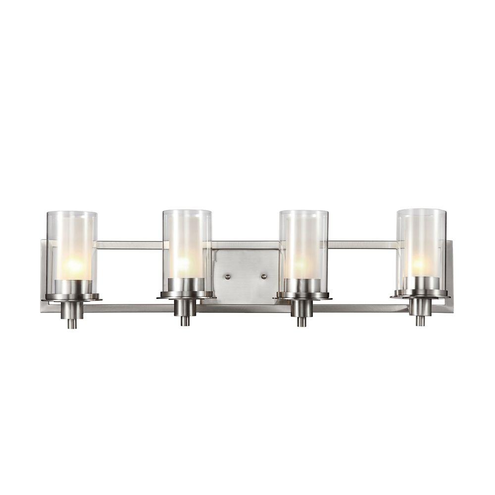 Rail à 4 lumières, verre transparent givré, nickel