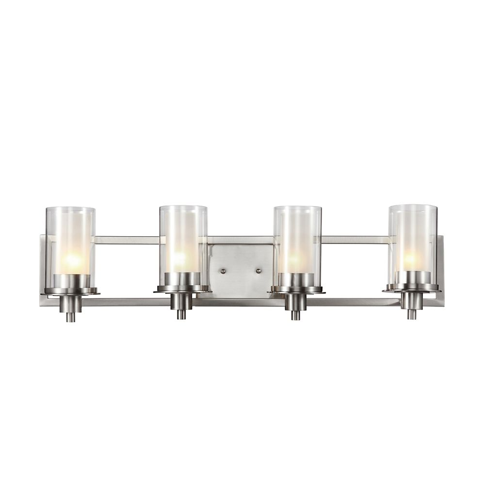 Bel Air Lighting Nickel Clear and Frosted Glass 4-Light Rail