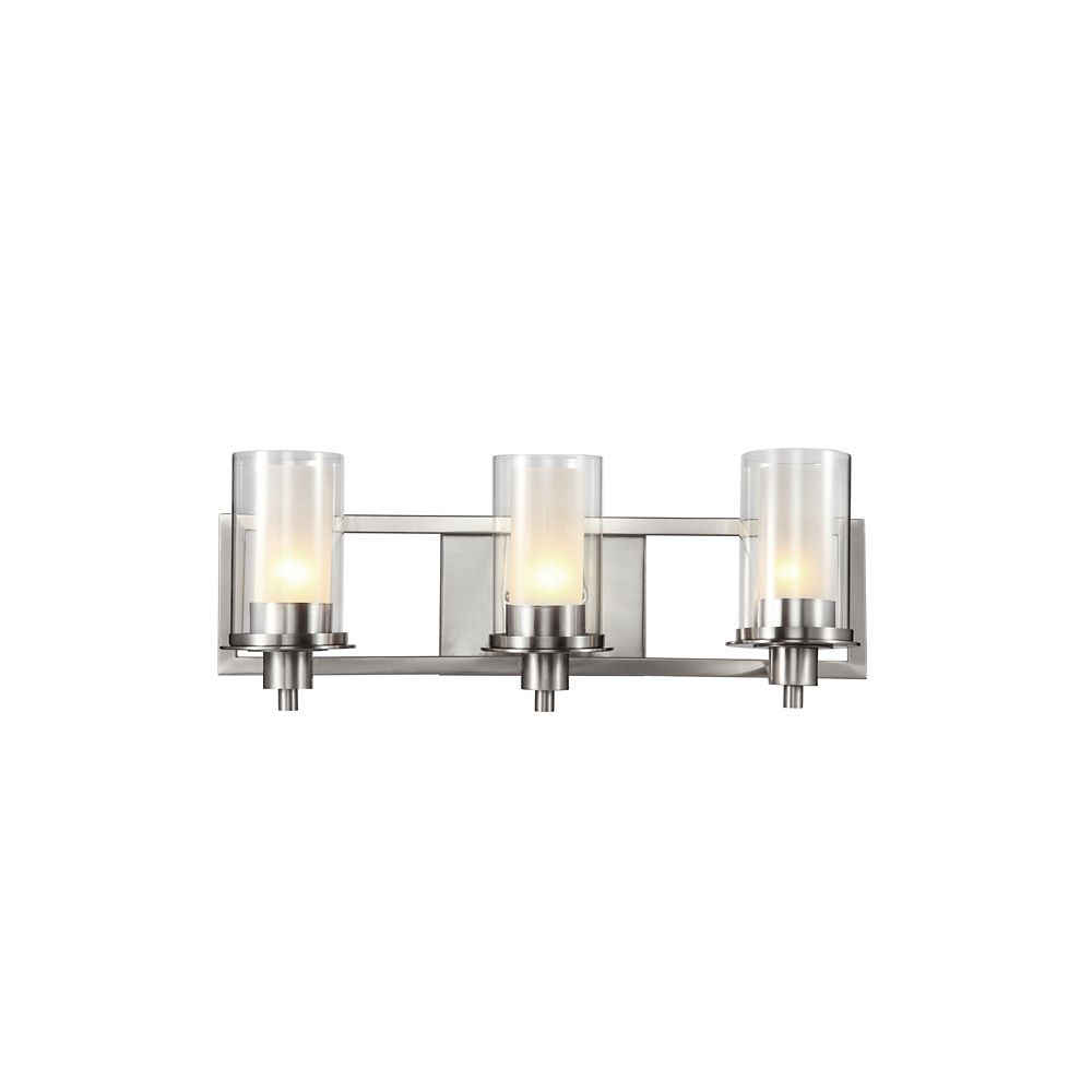 Bel Air Lighting Cabernet Collection 3-Light Brushed Nickel Bath Bar Light with Frosted Inner Glass Shade