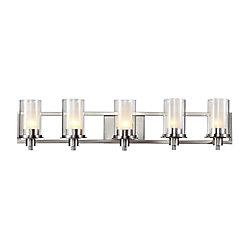 Bel Air Lighting Rail à 5 lumières, verre transparent givré, nickel