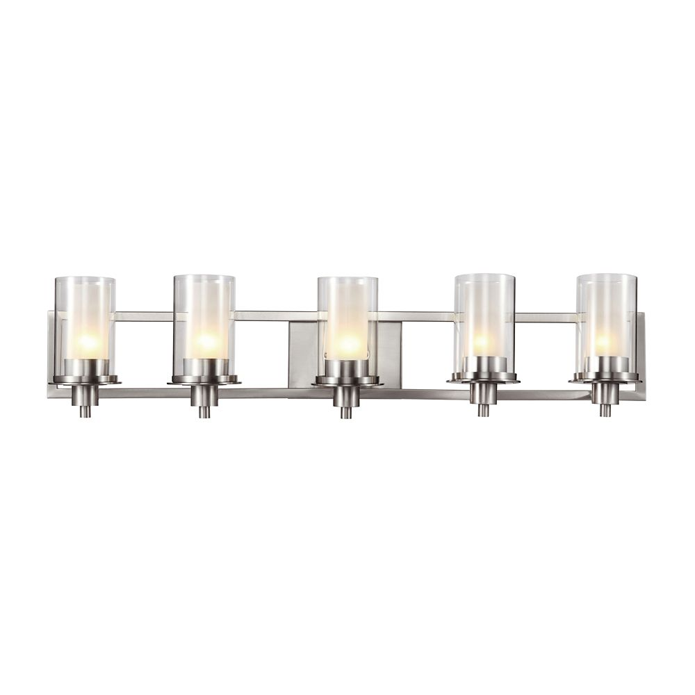 Bel Air Lighting Nickel Clear and Frosted Glass 5 Light Rail