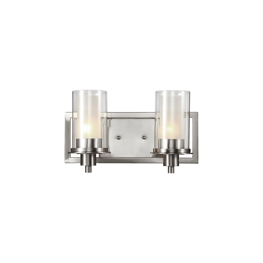 Nickel Clear and Frosted Glass 2 Light Sconce