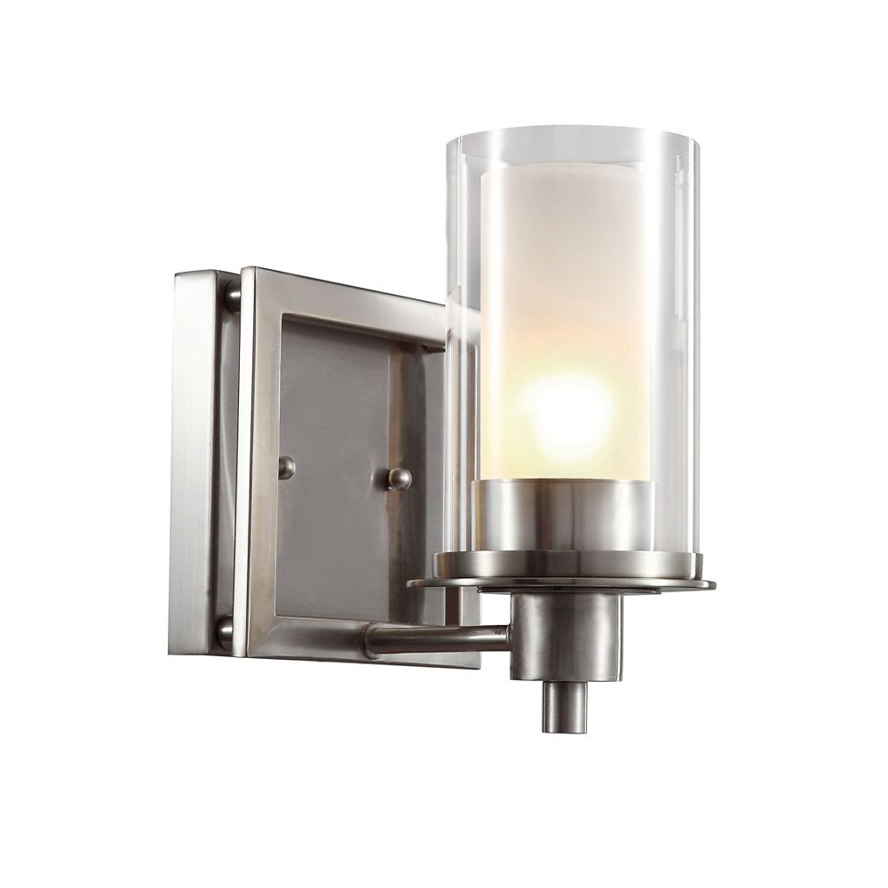 Nickel Clear and Frosted Glass Sconce