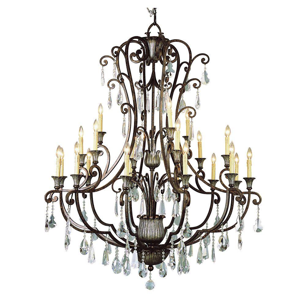 Bel Air Lighting Lustre à trois rangs, bronze huilé