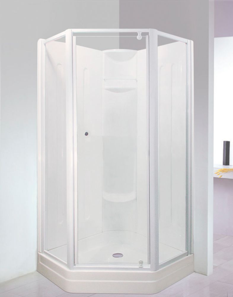 Contractor 38Inchx38Inch Neo Angle Pivot Shower Door-White finish and Glass with Design (Base not Included)