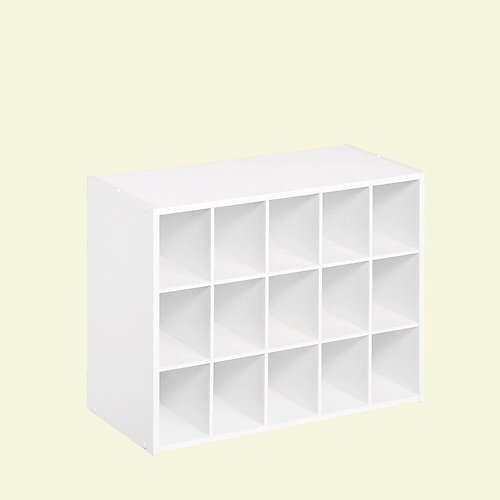 24 inch W x 19 inch H White Laminate 15-Cube Organizer
