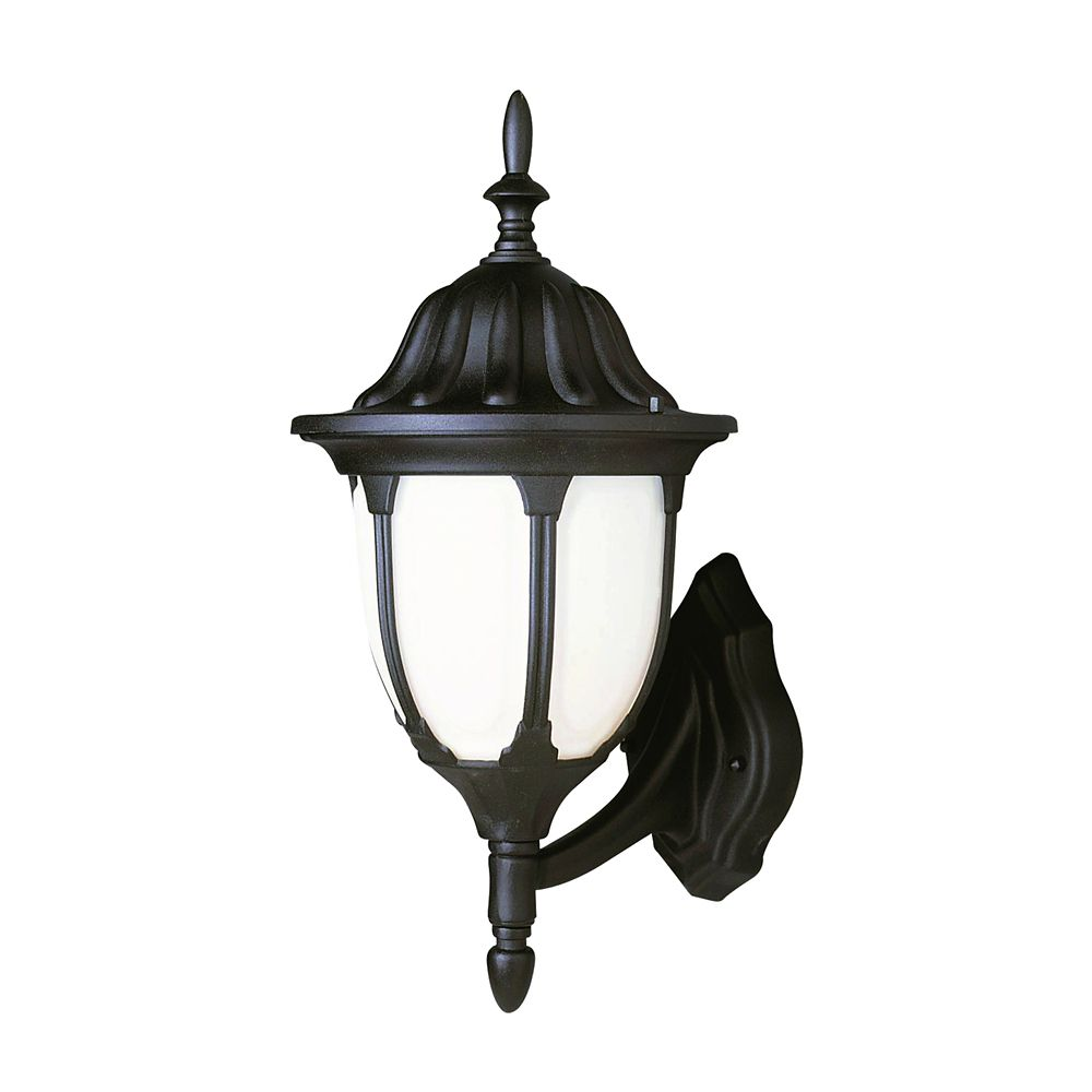 Black with Opal Glass 13 inch Coach Light