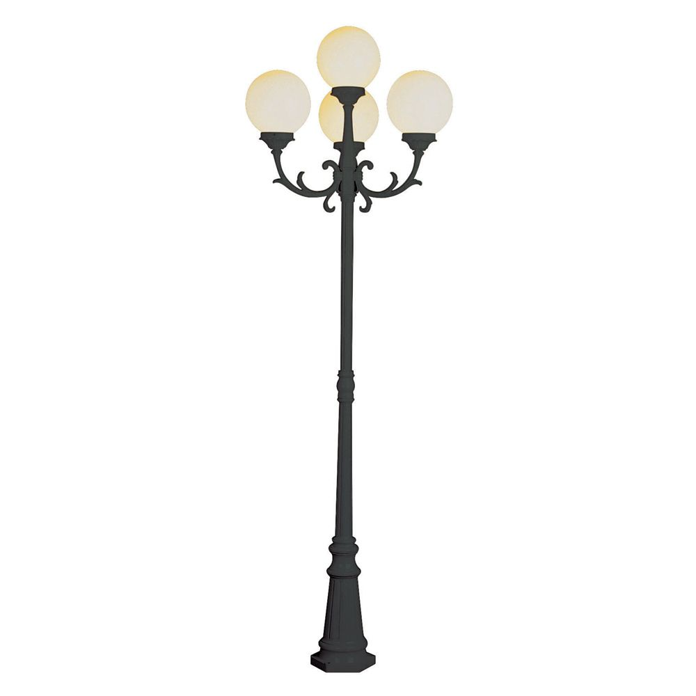 Black with White Globes Lamp Post