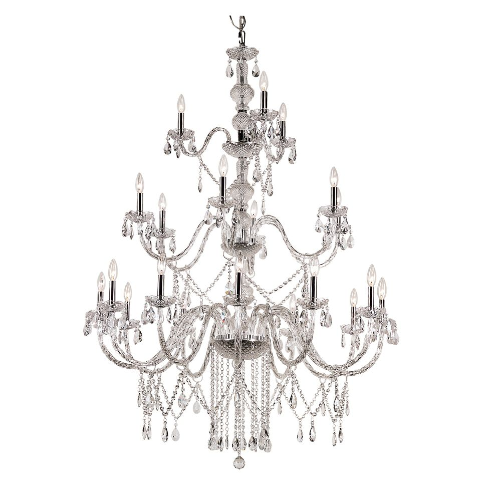 Bel Air Lighting 21-Light 60W Polished Chrome Braided Crystal Triple-Tier Chandelier with 8 ft. Chain
