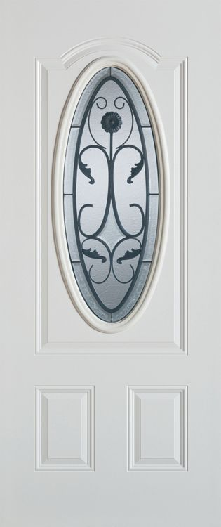 Stanley Doors 35.375 inch x 82.375 inch Wrought Iron 3/4 Oval Lite 2-Panel Prefinished White Left-Hand Inswing Steel Prehung Front Door - ENERGY STAR®