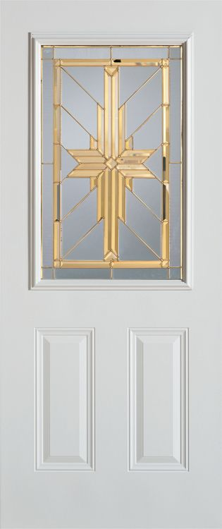 Stanley Doors 35.375 inch x 82.375 inch Starling Brass 1/2 Lite 2-Panel Prefinished White Left-Hand Inswing Steel Prehung Front Door - ENERGY STAR®