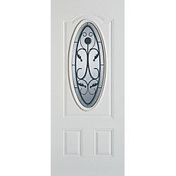 Stanley Doors Porte dentrée 36 po en acier peint, munie de deux panneaux et dun verre ovale