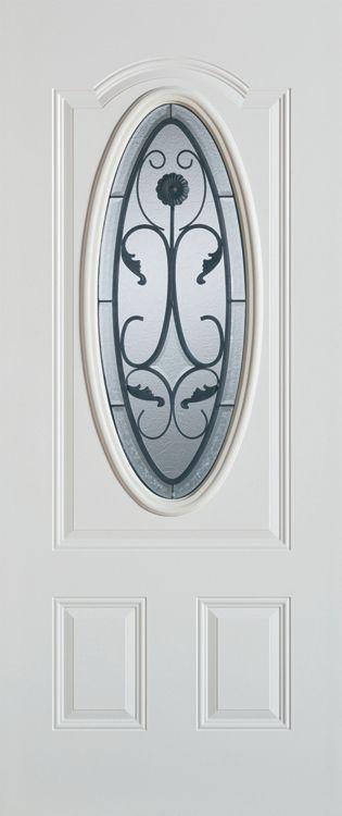 Stanley Doors 37.375 inch x 82.375 inch Wrought Iron 3/4 Oval Lite 2-Panel Prefinished White Left-Hand Inswing Steel Prehung Front Door