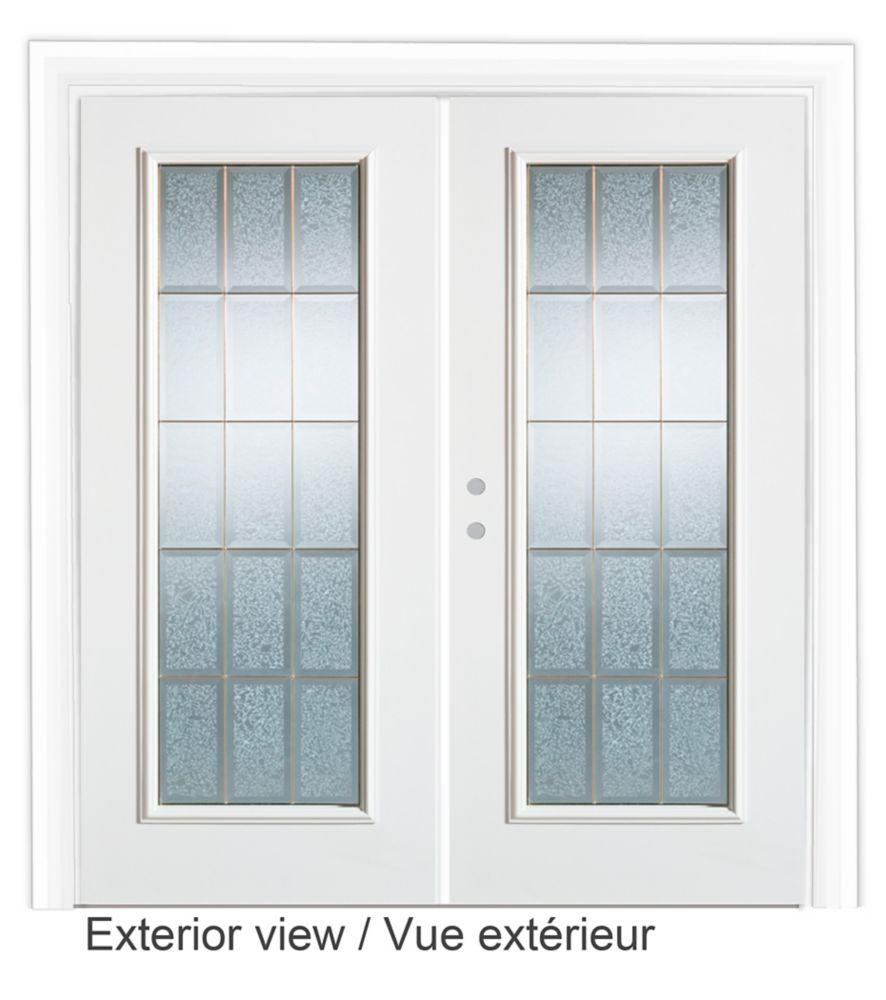 Porte de Jardin 5 pieds avec verre décoratif-ouverture porte Droite