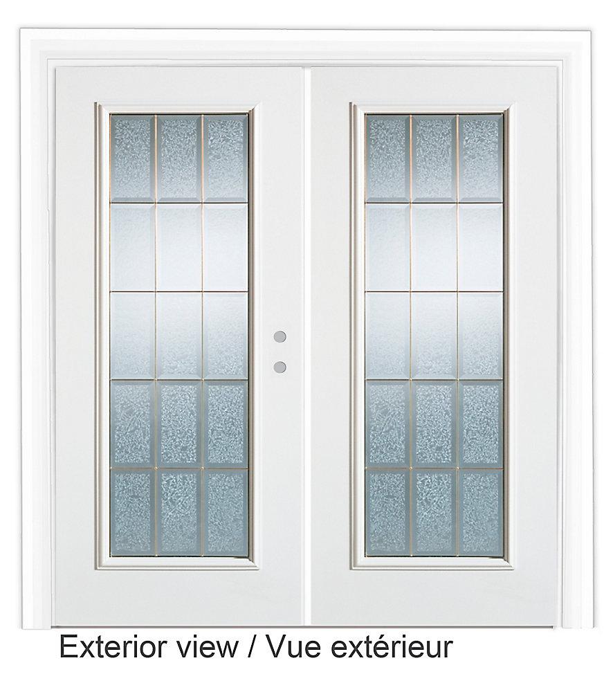 61 inch x 79.75 inch Diana Full Lite Prefinished White Left-Hand Steel Garden Door