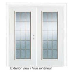Stanley Doors 61 inch x 79.75 inch Diana Full Lite Prefinished White Left-Hand Steel Garden Door