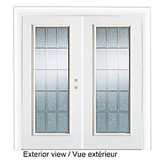 71 Inch X 82.375 Inch Diana Full Lite Prefinished White Left Hand Steel  Garden Door