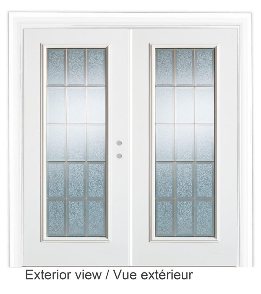 71 inch x 82.375 inch Diana Full Lite Prefinished White Left-Hand Steel Garden Door