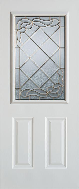36 In. 1/2 Lite 2 - Panel Painted Steel Entry Door