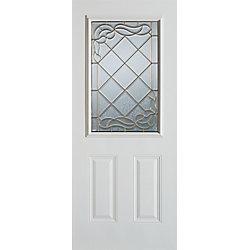 Stanley Doors Porte dentrée 36 po en acier peint, munie de deux panneaux et dun demi-verre - ENERGY STAR®