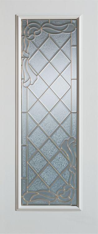 Stanley Doors 37.375 inch x 82.375 inch Queen Anne Patina Full Lite Prefinished White Left-Hand Inswing Steel Prehung Front Door - ENERGY STAR®