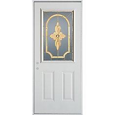 stanley doors 34 inch 1 2 lite painted steel entry door the home