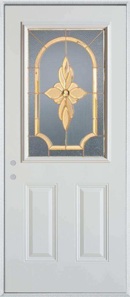 Porte dentrée 34 po en acier peint, munie de deux panneaux et dun demi-verre