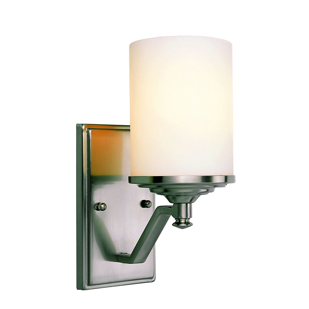 Nickel with Frosted Cylinder Sconce