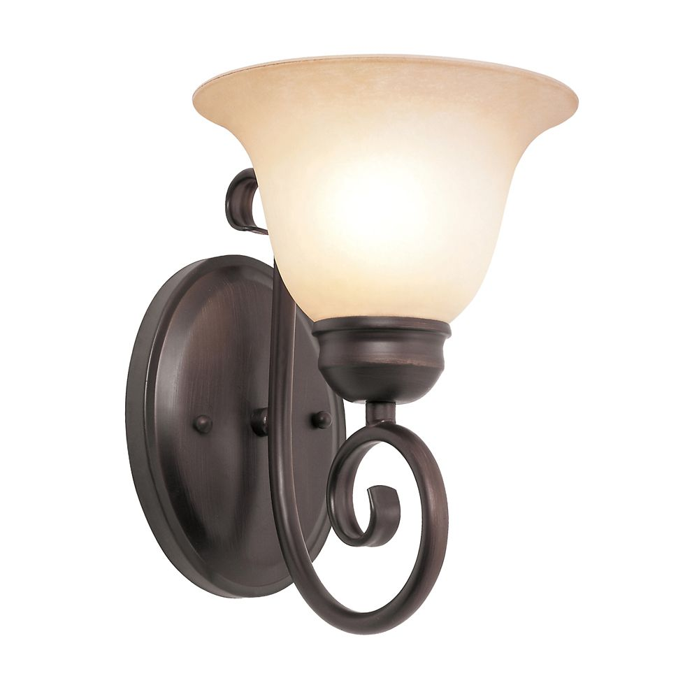 Oiled Bronze Scroll and Tea Glass Wall Sconce 70221-1 ROB in Canada