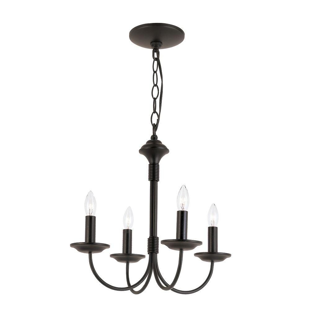 Bel Air Lighting Hook Candelabra 4-Light Black Chandelier