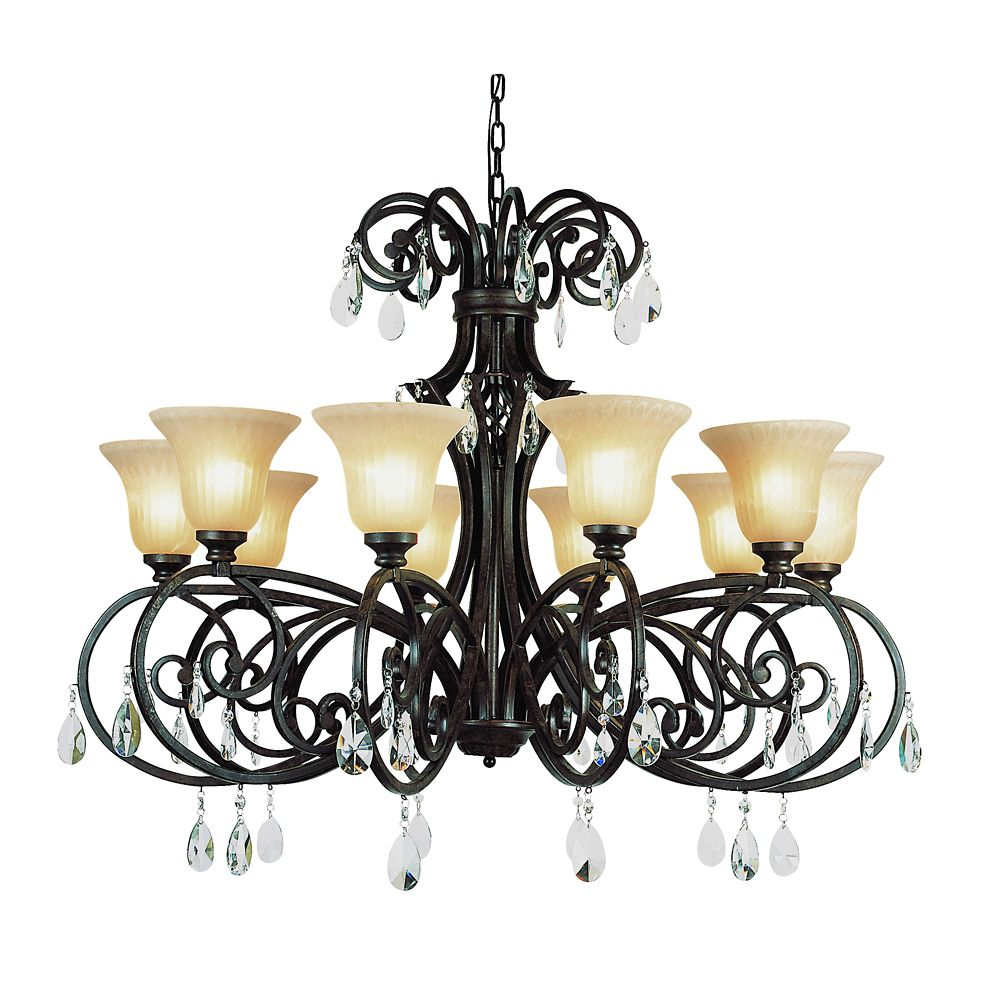 Bronzed Black Wrapped Scroll 10 Light Chandelier